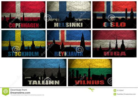 Collage Of Famous Northern Europe (Scandinavia) Cities