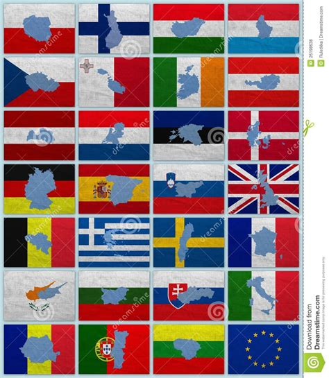 Flags And Maps Of European Union Stock Photo - Image of