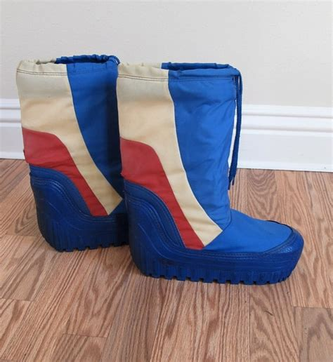 Vintage 80's Moon Boots Mens Size 7/8 Blue Red and Cream