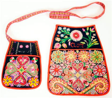Colourful embroidered folk costume bags / underbara