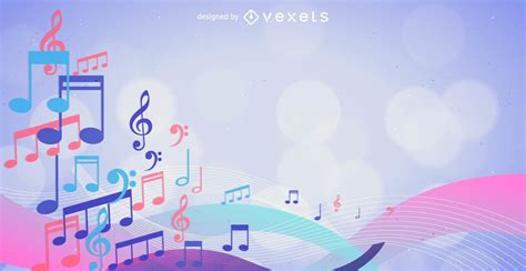 Colorful Musical Notes Background - Vector Download