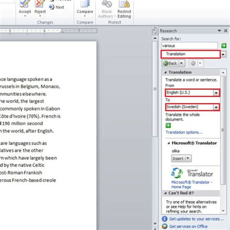 How to Look Up for Words and Find Translation in Microsoft