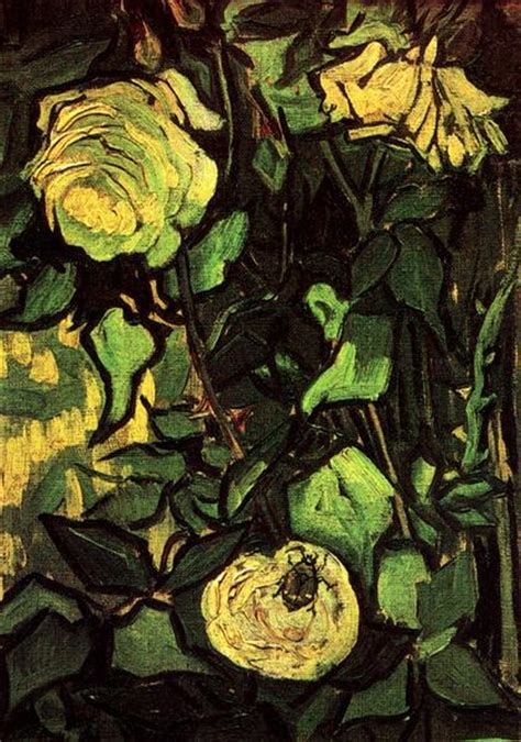 Roses and Beetle, 1890 - Vincent van Gogh - WikiArt